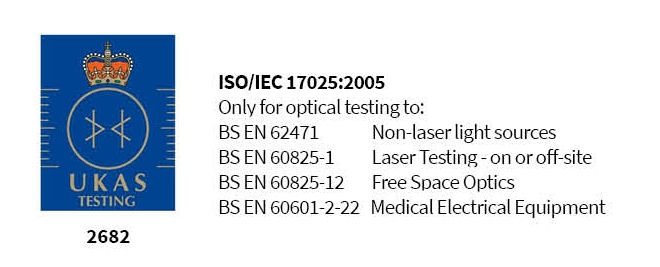 Lasermet UKAS accredited to BS 62471- LED testing