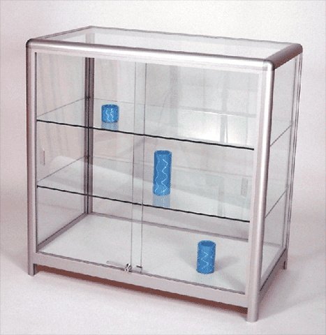 Satin silver and glass shop display counter