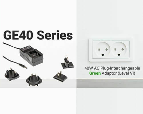 GE40 Series 40W AC Plug-Interchangeable Green Adaptor (Level VI)