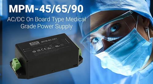 MEAN WELL MPM-45, MPM-65, MPM-90 - AC/DC Medical Power Supply