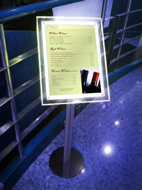 Free standing illuminated menu boards