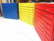 Colourful metal plan chests for schools