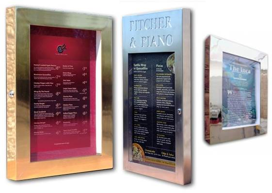 Premium Polished Menu Display Cases