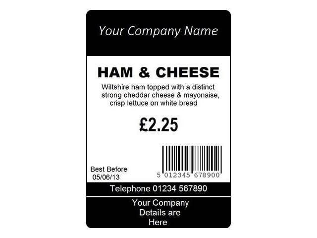 Takeaway Food Labels