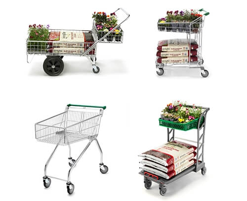 Large Stock of New & Refurbished Single & Double Basket Garden Centre Trolleys