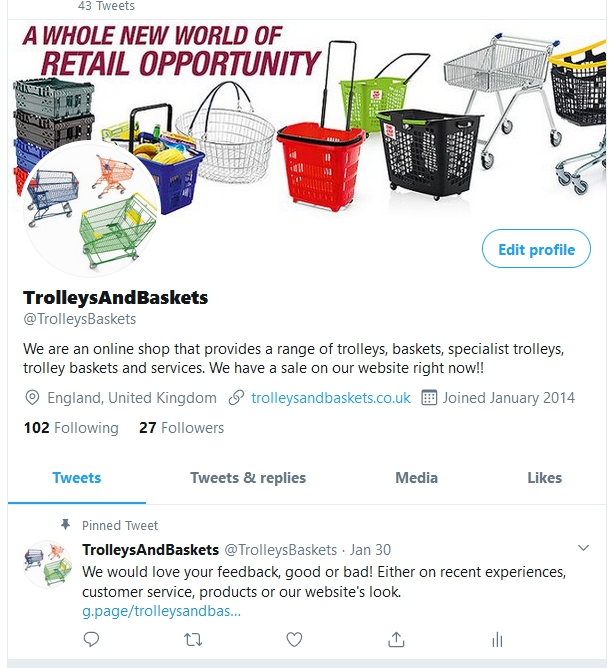 Trolleys and baskets Twitter is active once again!