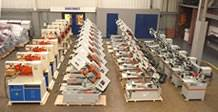 A stock of bandsaws circular saws, steelworkers.