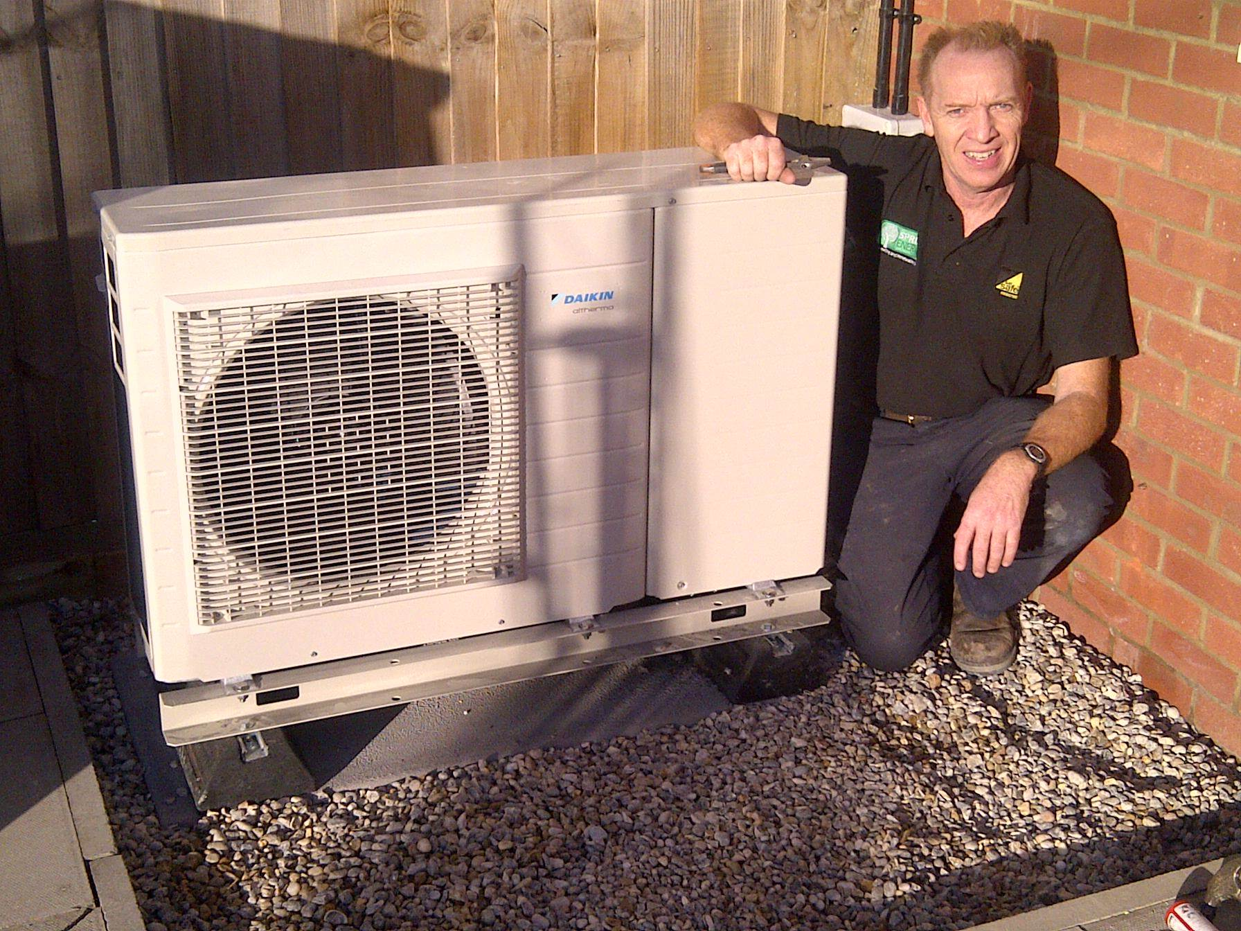 An air source heat pump installed by Spring Energy