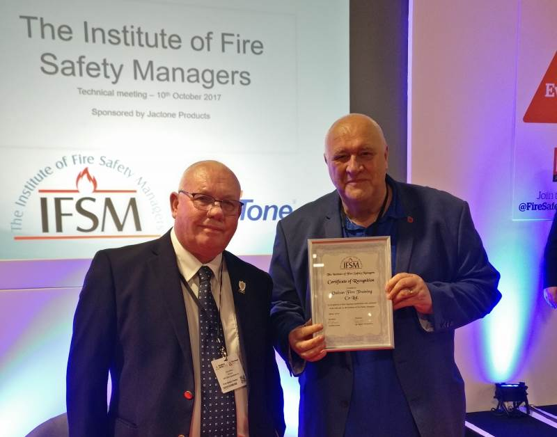 VULCAN'S GRAHAM HOLLOWAY RECEIVES CERTIFICATE OF RECOGNITION FROM THE IFSM