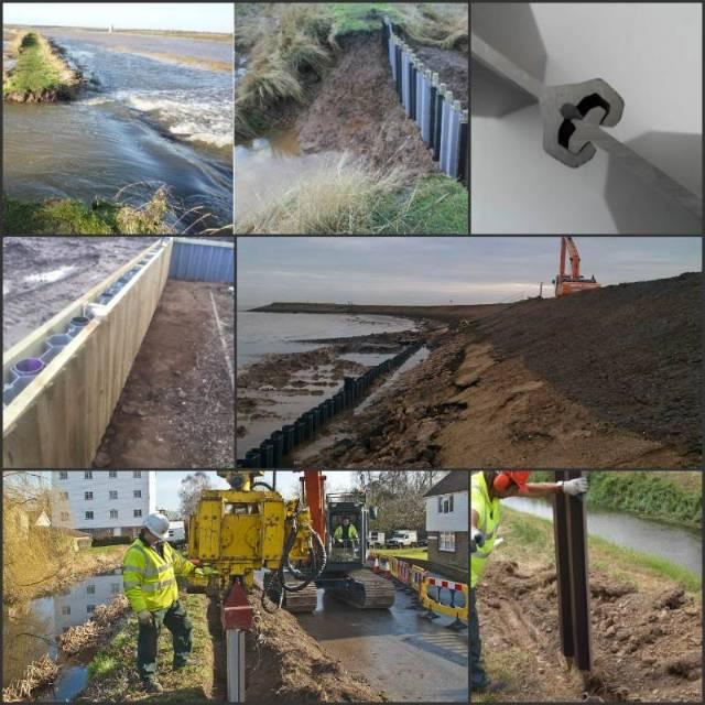 Flood management uses of plastic piling