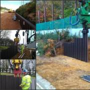 Plastic Piling for retaining walls on the Motorway