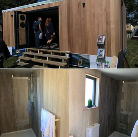 Luxury shower and bathrrom wetwall to Smart Eco Glamping