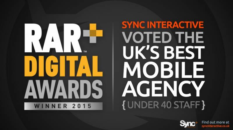 Sync Interactive win the 2015 RAR+ Digital Awards – UK's Best Mobile Agency