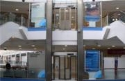 Churchill Square, vinyl text on glass windows