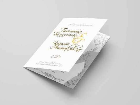 Folded Order of Service Cards