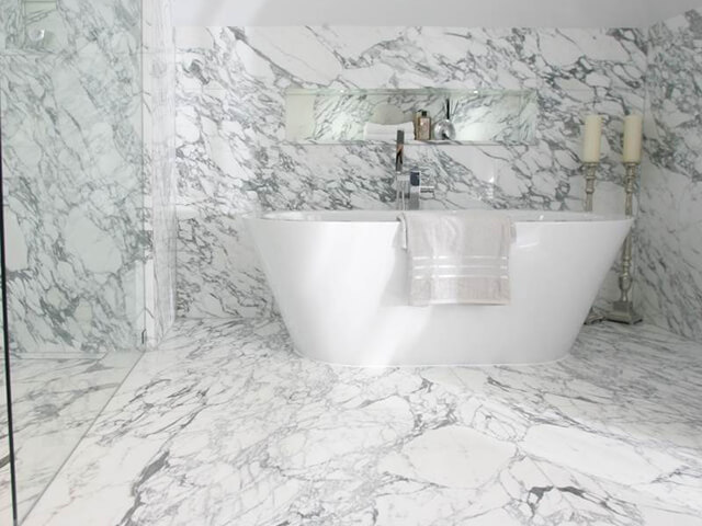 Bookmatched Arabescato Marble Bathroom