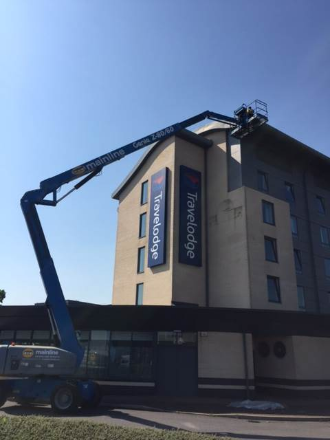 Exterior cleaning made easy with a Genie Z-80 Cherry Picker…