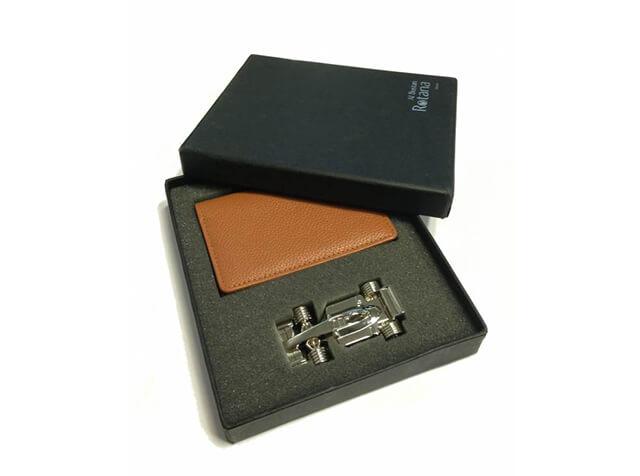 Leather Credit Card Holder + Metal F1 Car USB