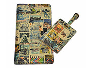 Printed Leather Travel Wallet & Luggage Tag Set