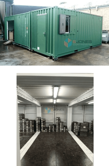 Containers converted into a secure storage and dispatch office
