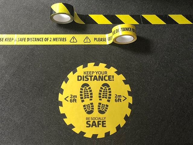 COVID-19 Safety Floor Tape & Stickers