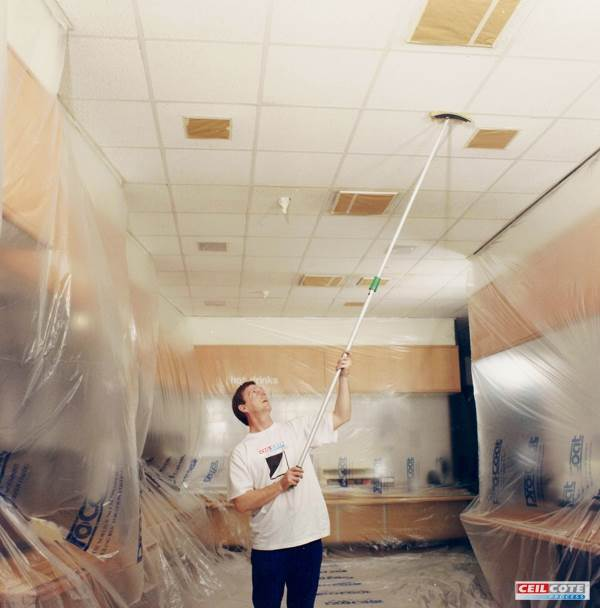 Ceiling spray painting for commercial premises