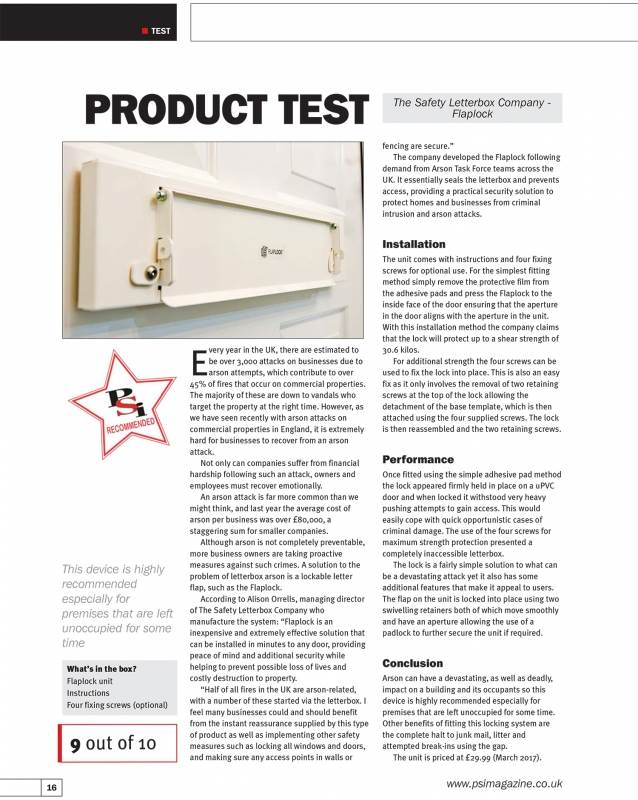 FlapLock review by Professional Security Installer Magazine - 9/10