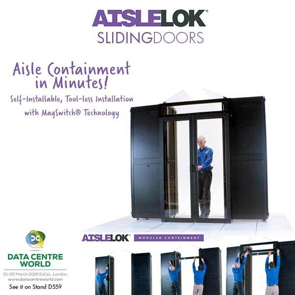 Self-Installable AisleLok Sliding Doors for Aisle Containment See Them at DCW