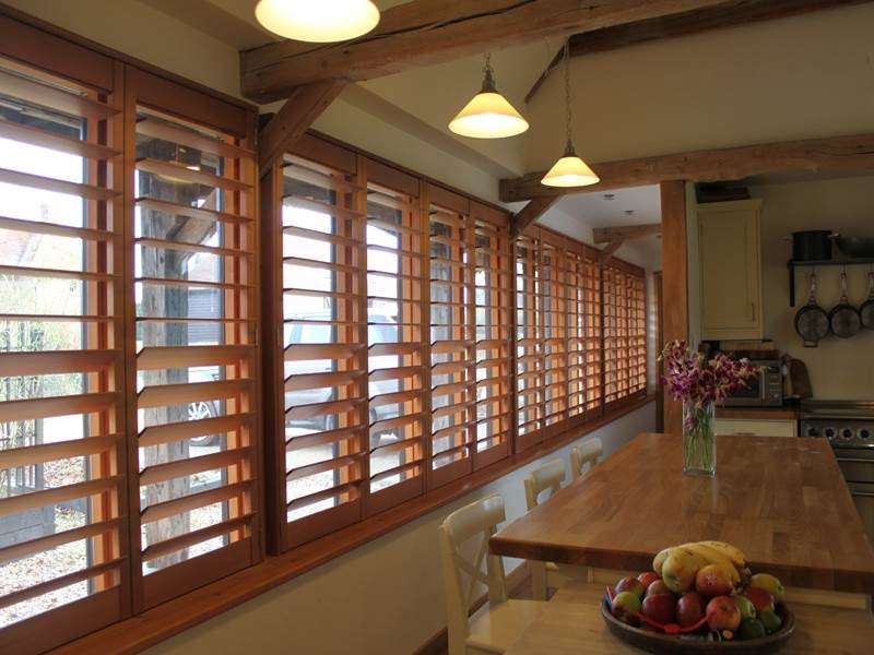Red Cedar Wood Shutters For Large Kitchen Windows