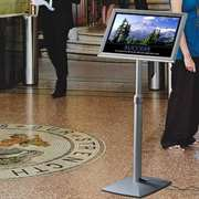 Menu displays include backlit floor stands